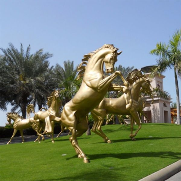 Garden Decorative Large Real Size Rearing Bronze Horse Sculpture