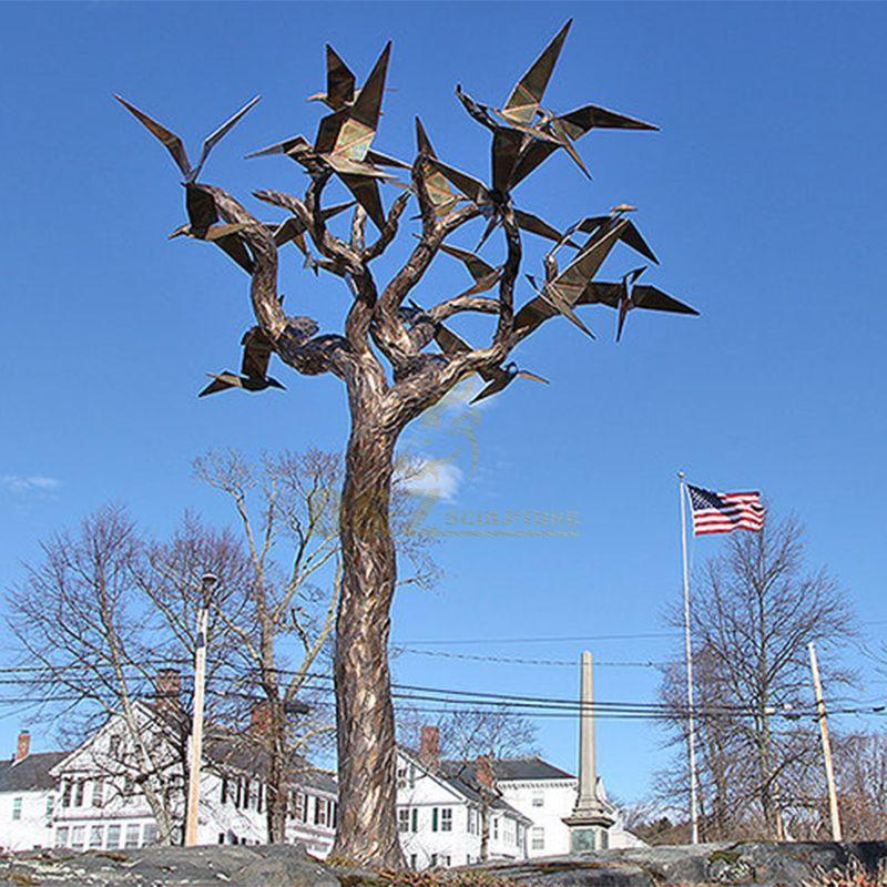 Outdoor Metal Large Abstract Tree Bronze Bird Sculpture for Garden
