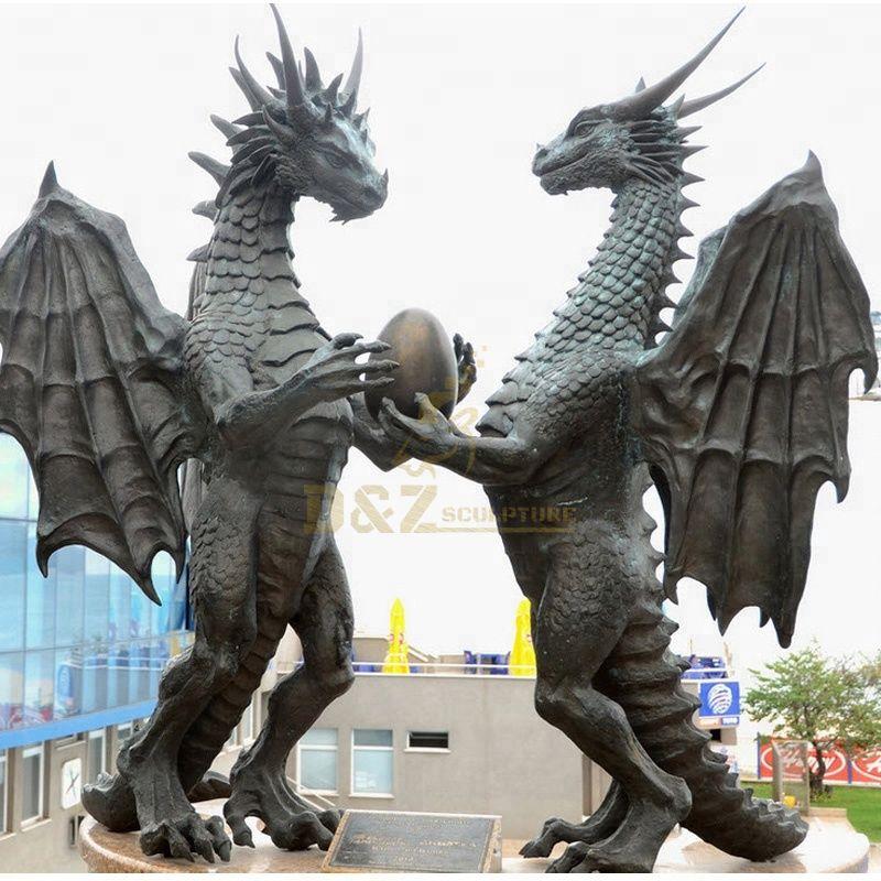 Modern Garden Cast Bronze Dragon Sculpture