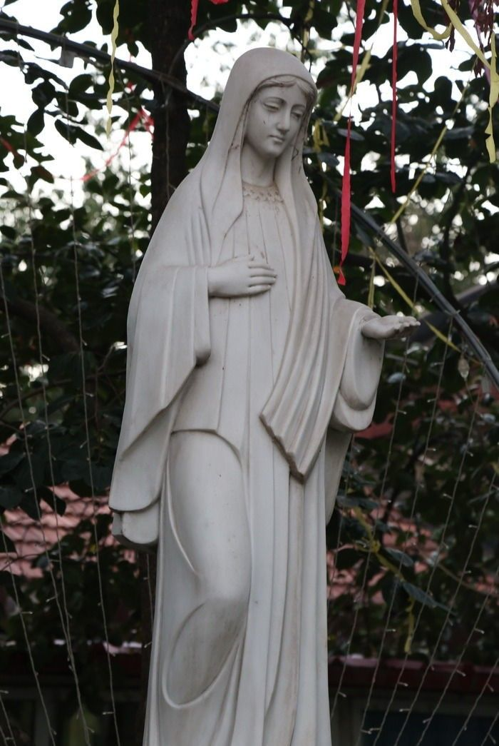 mary statue in yard