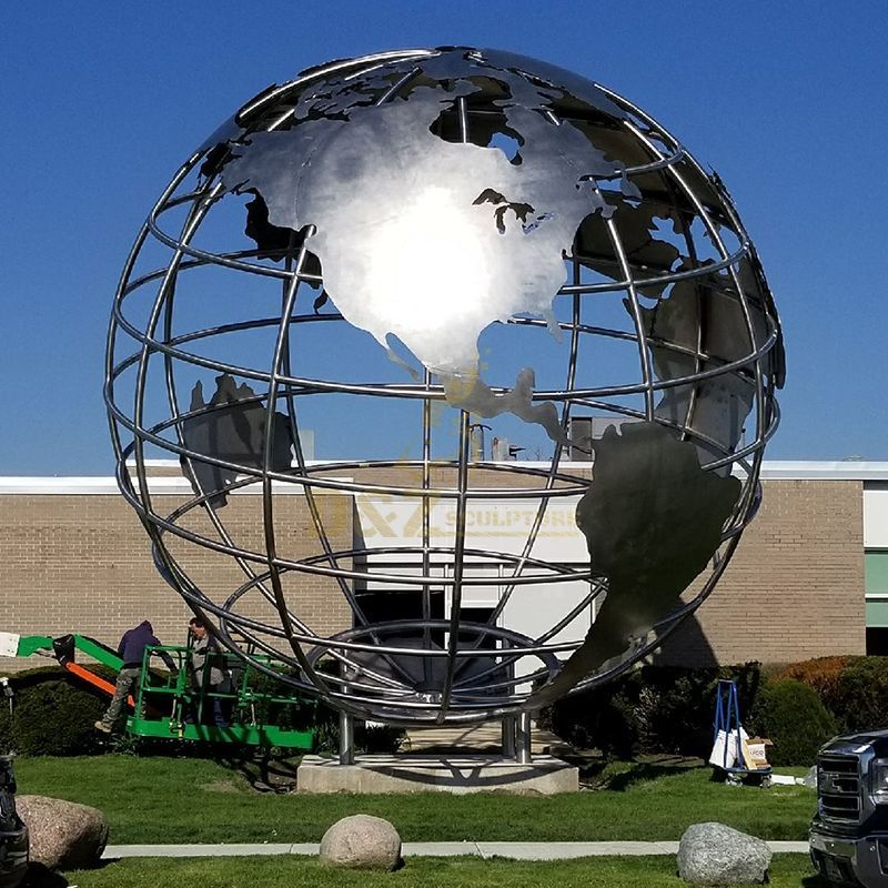 Outdoor Metal Globe Statues Stainless Steel Sculpture For Sale