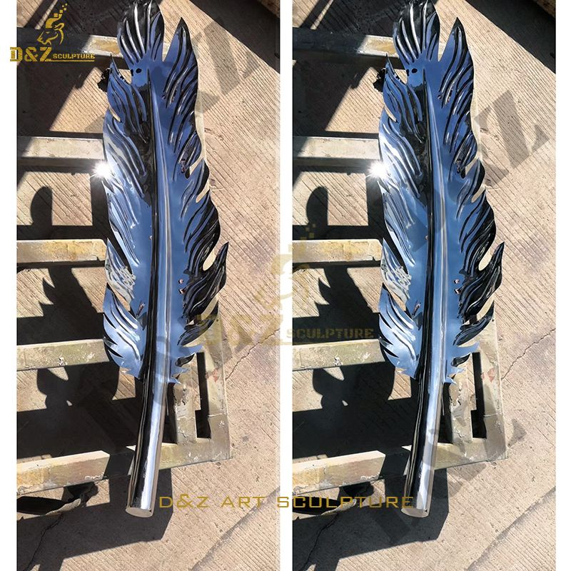 Large Modern Outdoor Sculpture Stainless Steel Feather Statuette