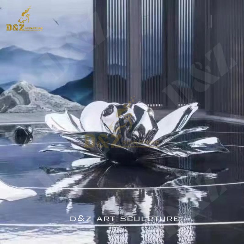 Lotus Sculpture Stainless Steel