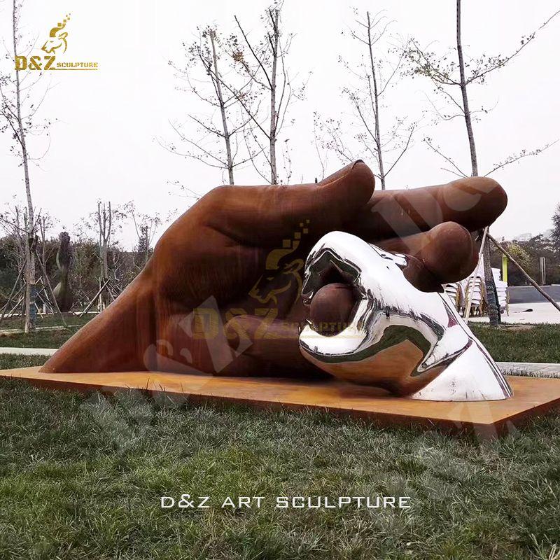 Hot Sale Morden Stainless Steel Sculpture Hand In Hand Statue