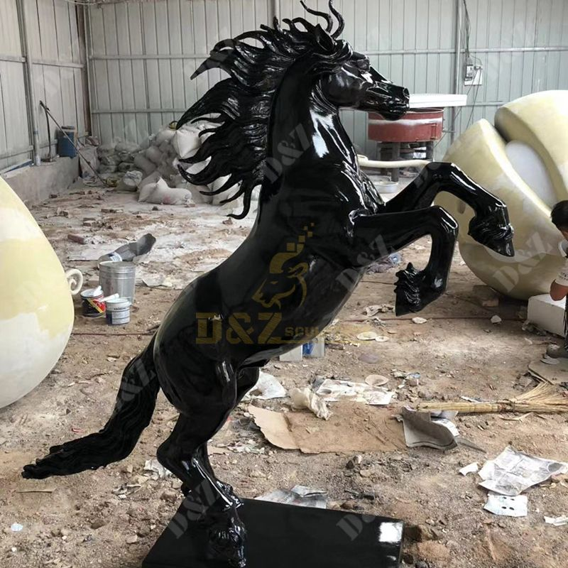 Exquisite Life-Size Fiberglass Horse Statue For Sale