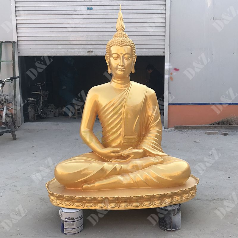Exquisite Fiberglass Golden Buddha Statue For Garden Decor