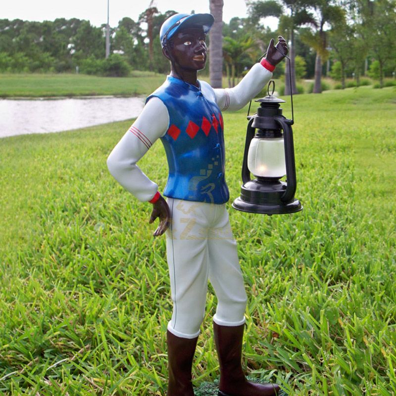 Black lawn jockey statue with lantern for sale
