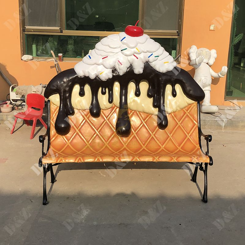 Customized Exquisite Glass Steel Ice Cream Chair sculpture For Sale