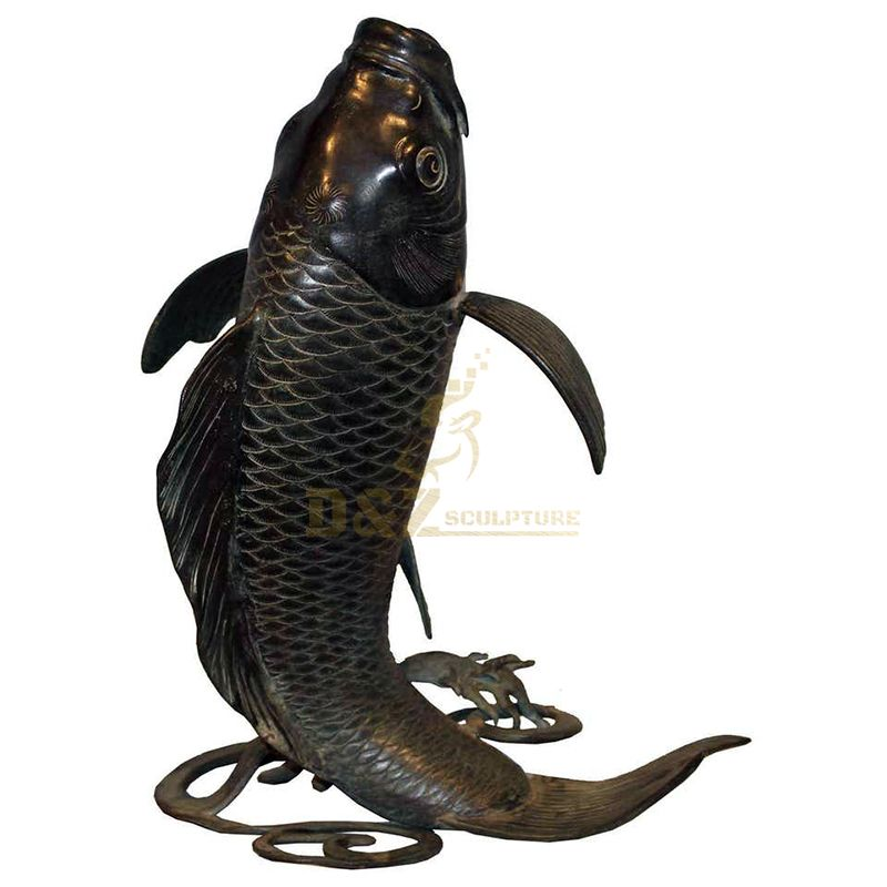Handmade outdoor garden bronze koi fish water fountain statue for sale