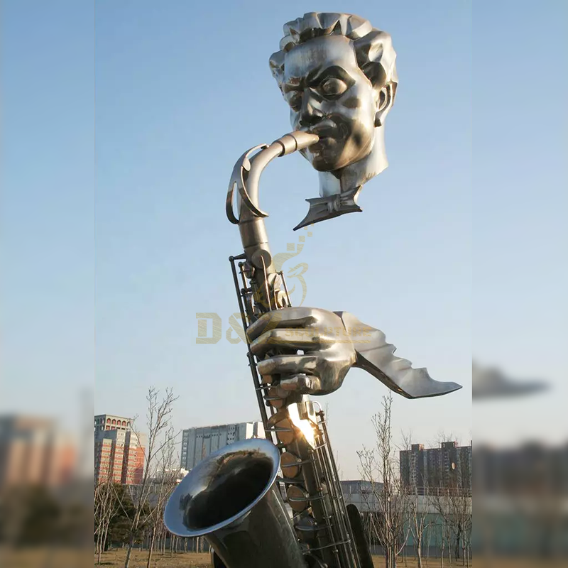 Western Decorative Bronze Casting Musician Bust Saxophone Statue
