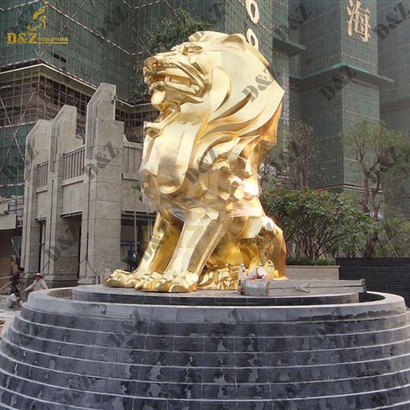Life Size Lion Statue Outdoor Stainless Steel Lion Sculpture