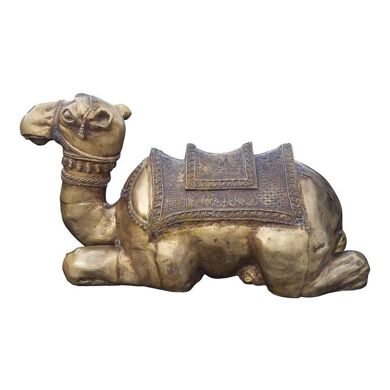 Outdoor life size vintage brass camel statue for sale