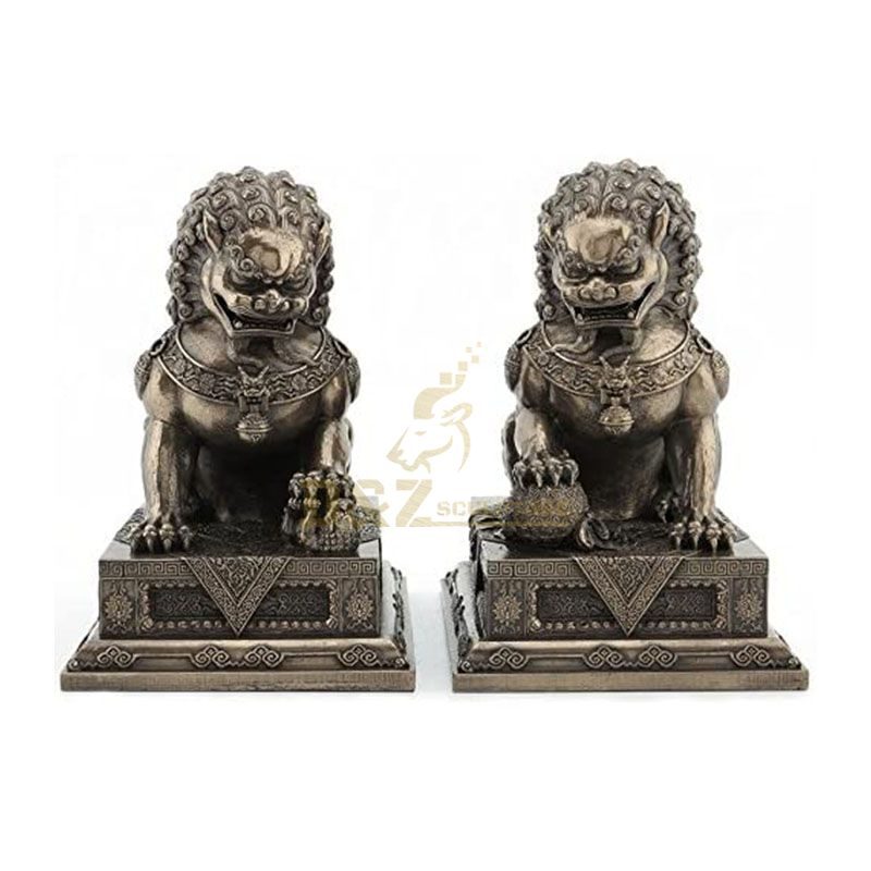 Bronze Chinese guardian lion statue for sale