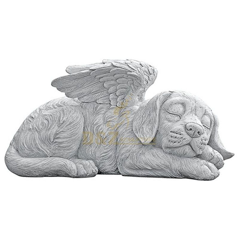 dog with angel wings statue
