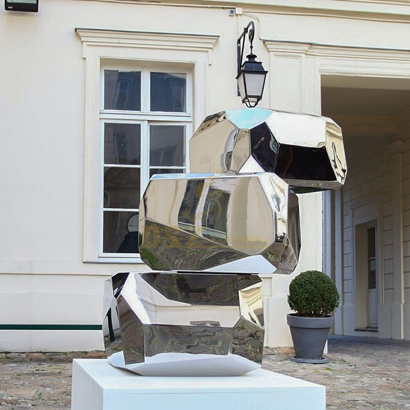 Outdoor polished stainless steel mirror geometric sculpture