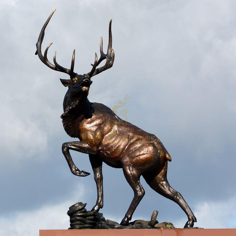 Hot sale exquisite animal decoration metal bronze stag elk sculpture