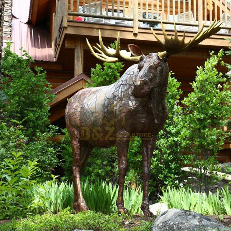 Chinese factory made standing metal bronze moose sculpture