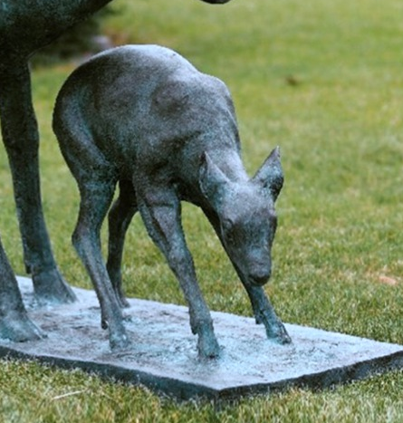 bronze fawn sculpture