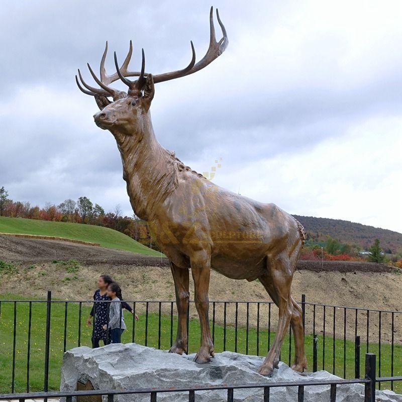 Large outdoor standing brass deer sculpture for sale