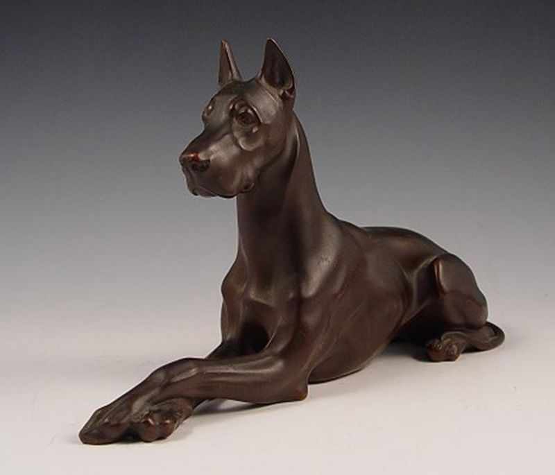 Interior Decoration Metal Casting Brass Great Dane Dog Statue