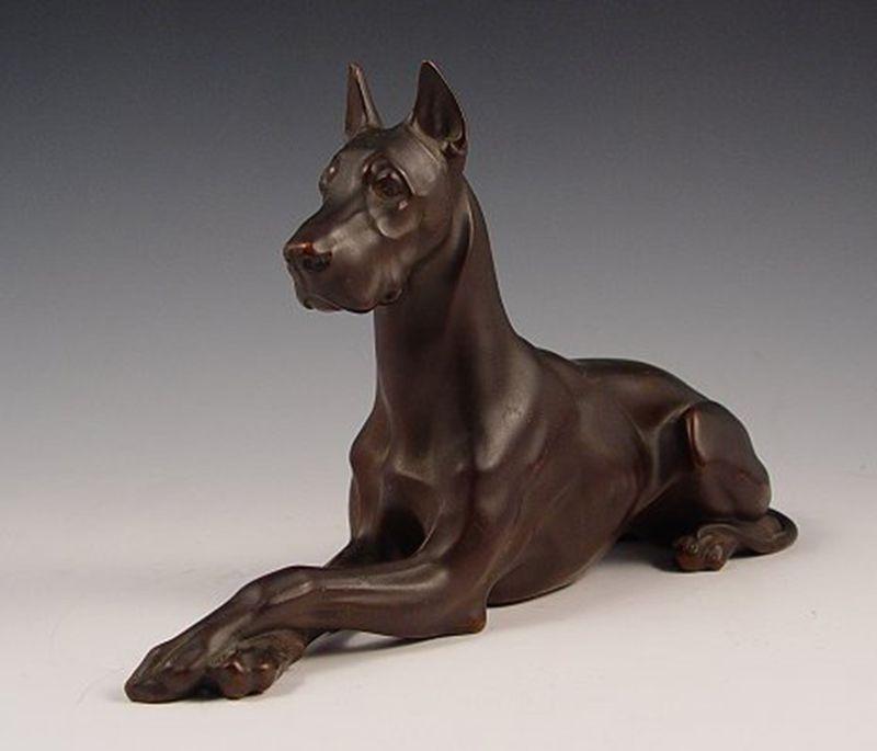 Interior Decoration Metal Casting Brass Great Dane Dog Statue