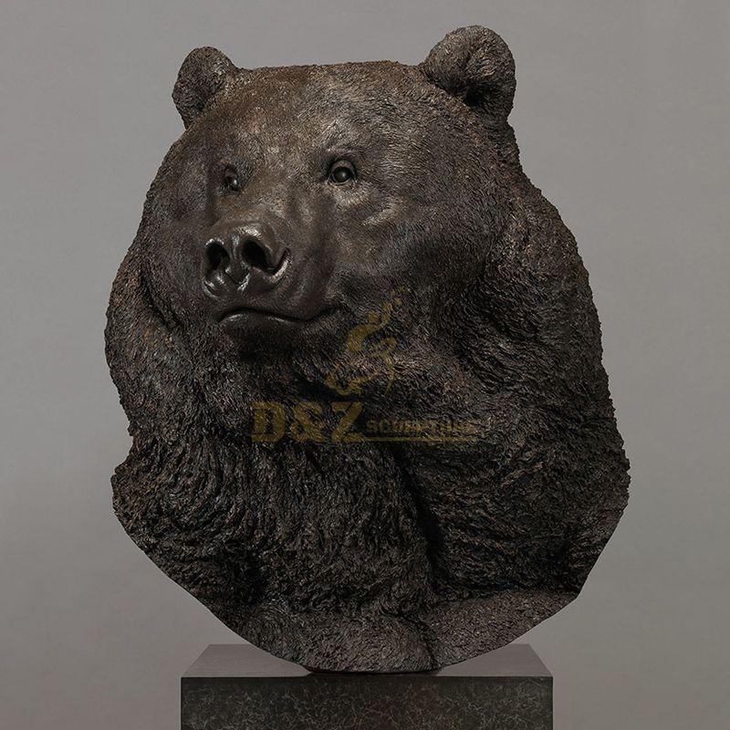 Indoor custom bronze bear head sculpture for home decoration