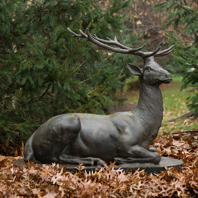 Cheap high quality outdoor decorative bronze lying elk sculpture