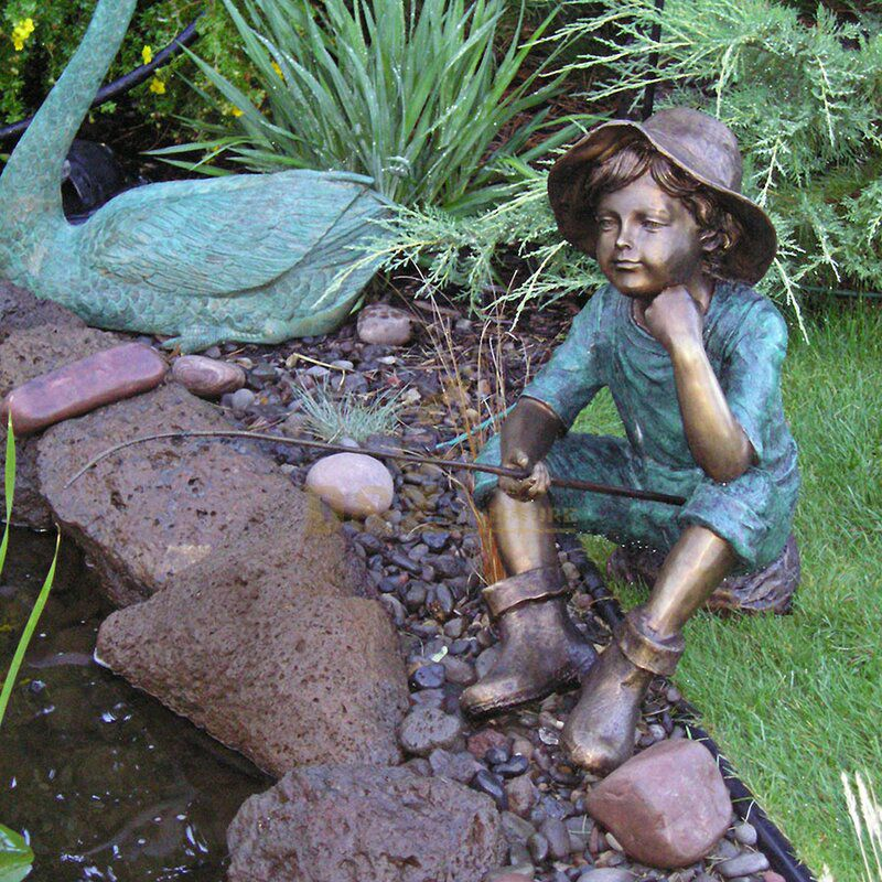Outdoor little boy fishing garden statue for sale