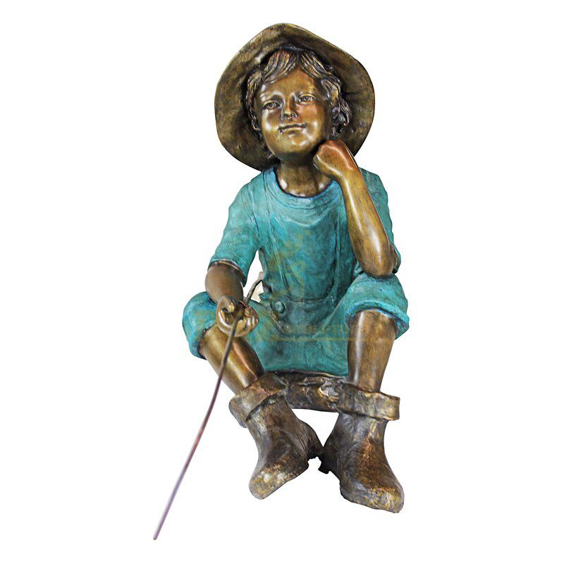 outdoor boy fishing statue