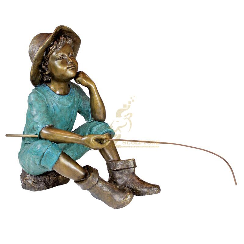 vintage boy fishing statue