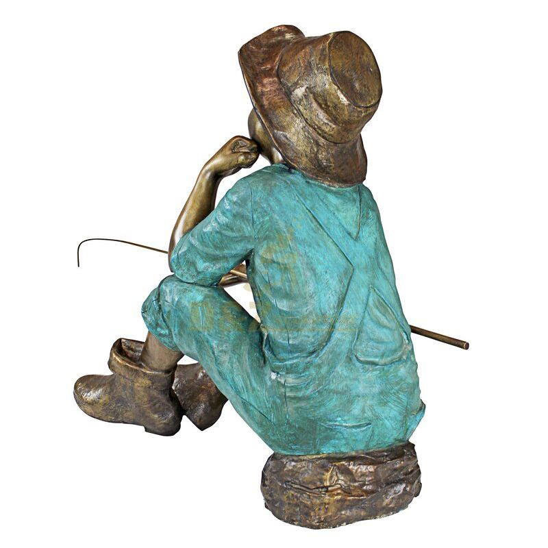 balck  boy fishing statue