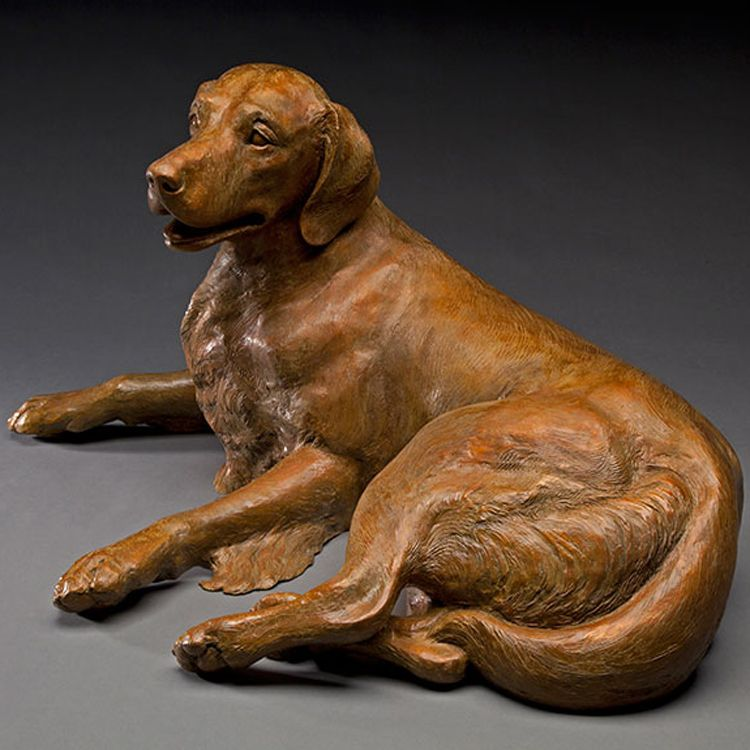 Life-size brass golden retriever garden statues on sale