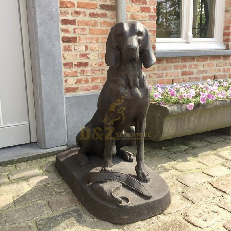 bronze golden retriever statue
