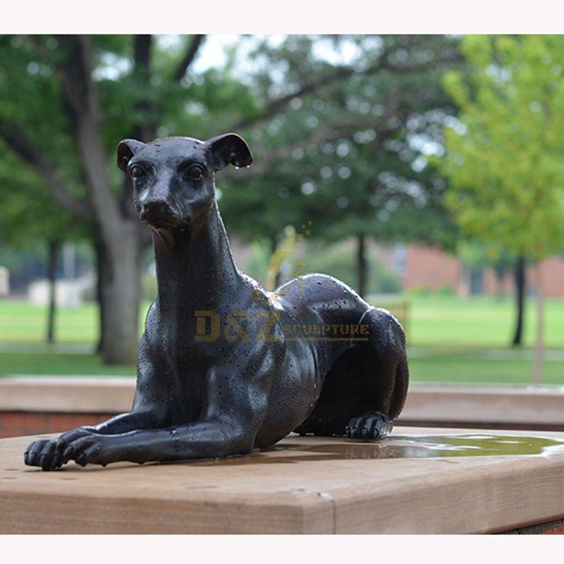 Exquisite garden decoration black bronze greyhound statue for sale