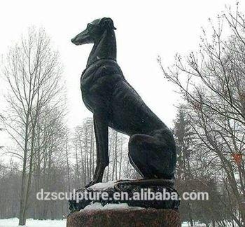 brass greyhound statue
