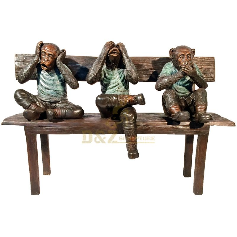 Famous Animal statue life size bronze Three wise monkeys statue