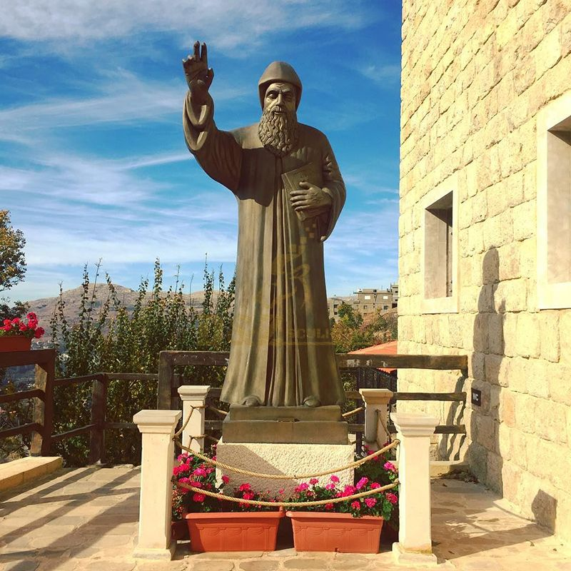 Hand-cast exquisite large bronze statue of Saint Charbel for sale