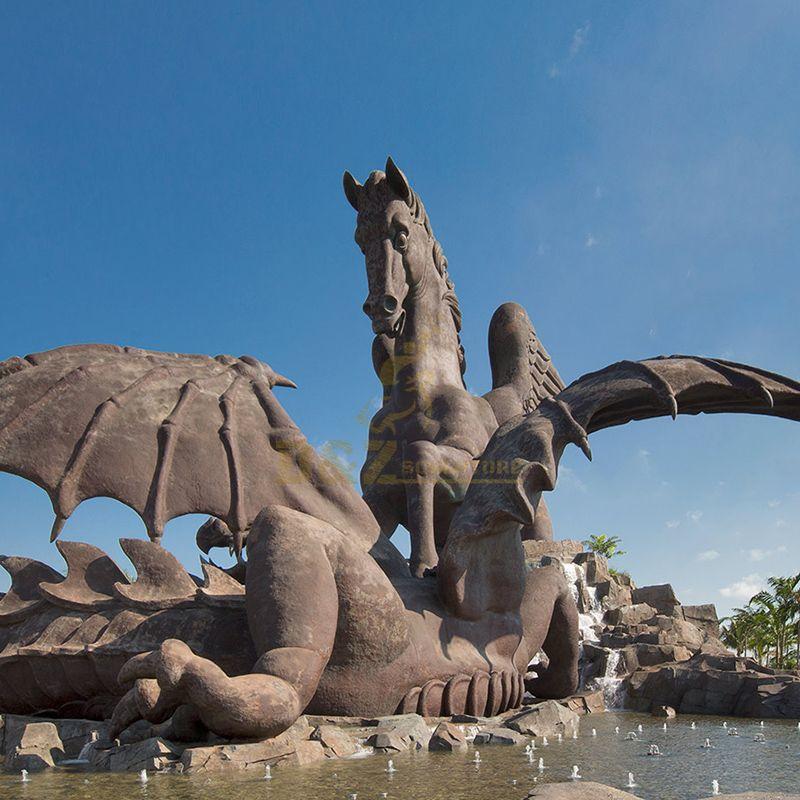 pegasus and dragon statue