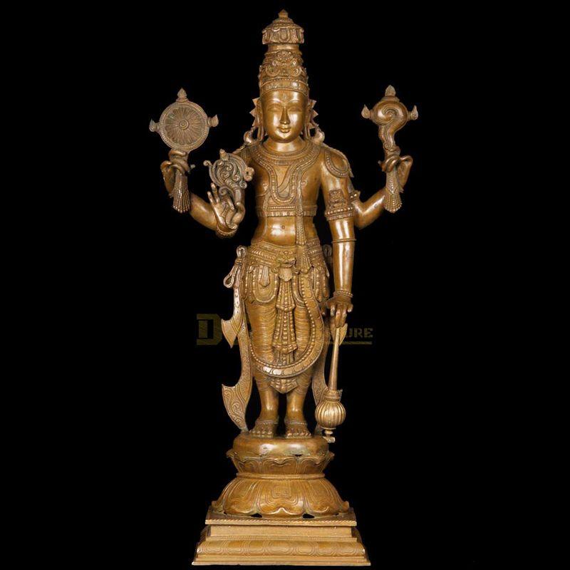 gold statue of lord vishnu