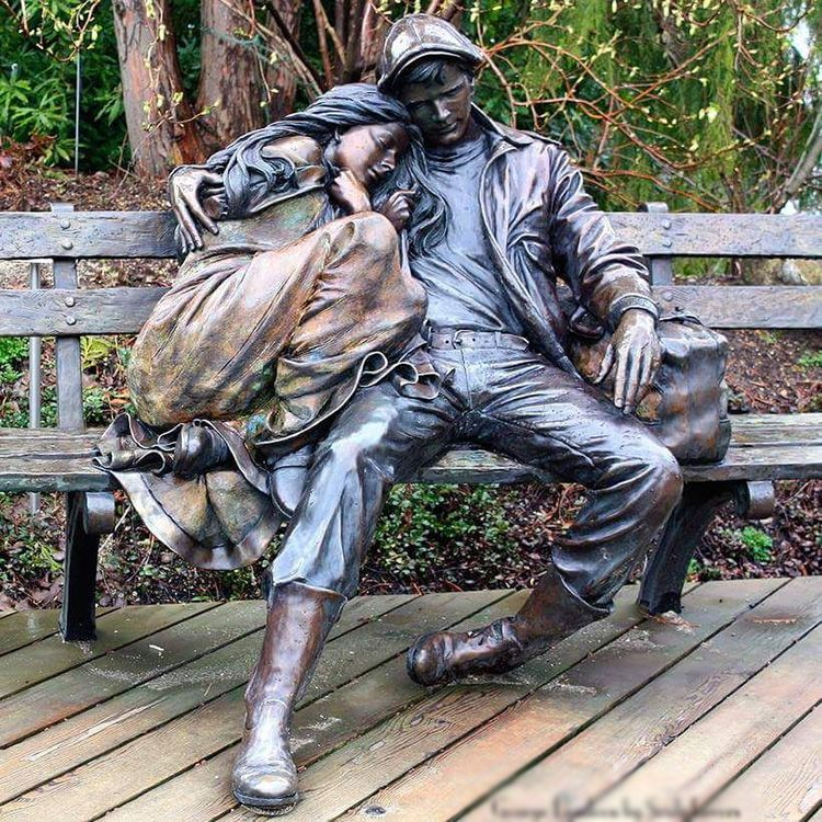 Famous sculptor george lundeen park bench bronze couple sculpture