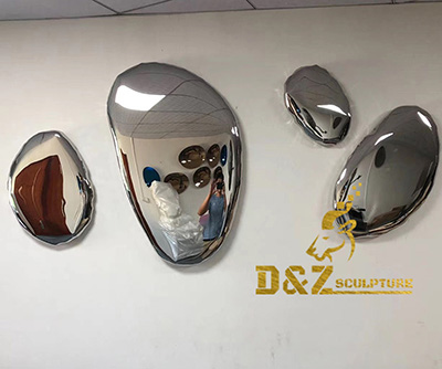 Do you like this metal wall art deco stainless steel mirror polished rock sculpture?