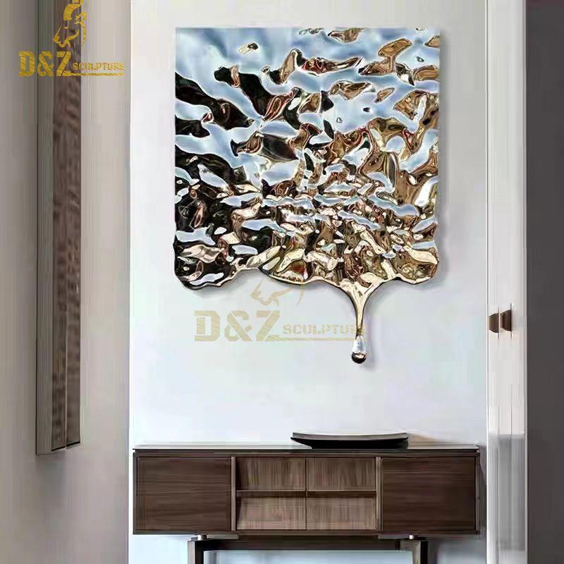 Stainless steel wall decoration irregular polygonal water ripple wall art decoration