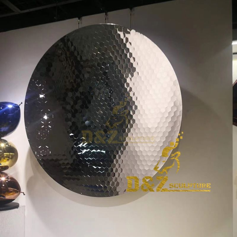 Stainless steel polished mirror polygonal disc sculpture wall modern art decoration