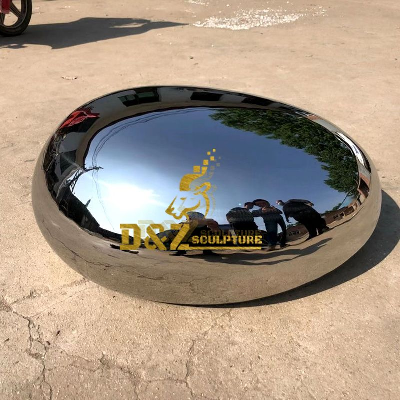 Garden Decor Stainless Steel Outdoor Mirror Polished Modern Rock Sculpture For Sale