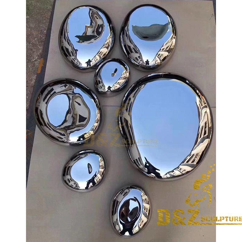 Hot sale metal wall decorative art polished mirror rock sculpture