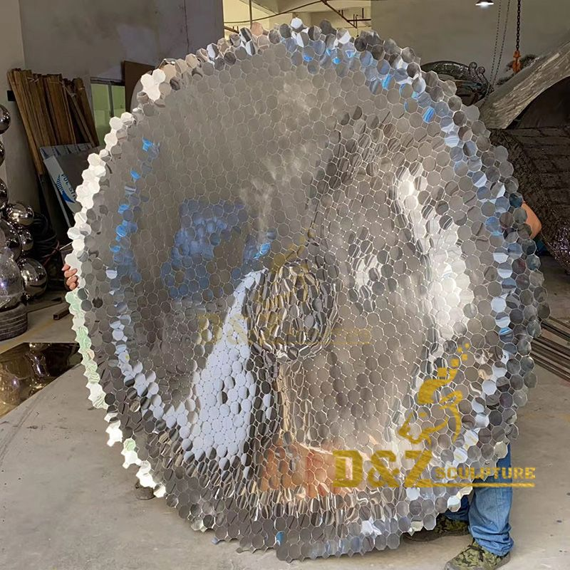 Factory wholesale high quality metal wall decoration mirror disc sculpture