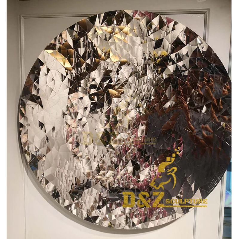 High quality metal wall decor artwork sculpture polished mirror polygonal disc decoration