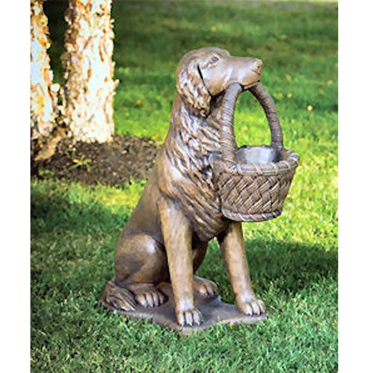 Life size bronze dog with basket garden statue for front porch