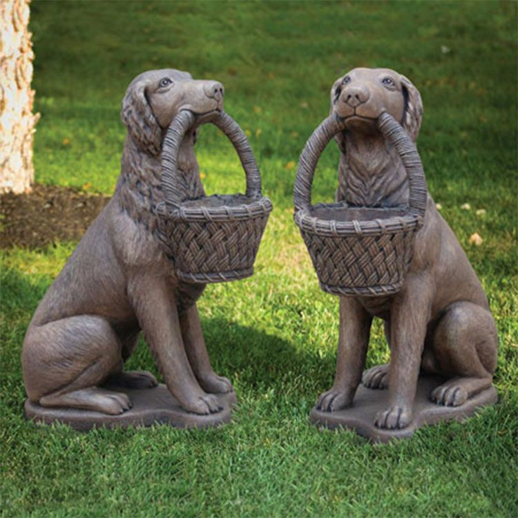 a pair of life size dog statue