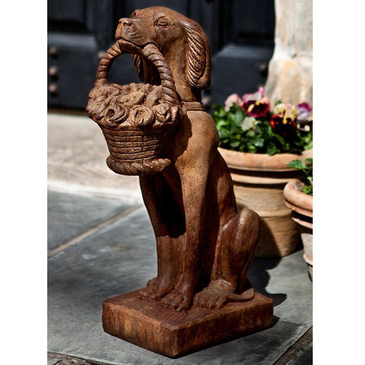 stone dog garden statue for front porch